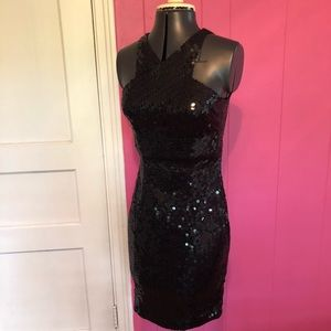 "Sexy Vintage 90s ""Cold Shoulder"" Sequin Dress"
